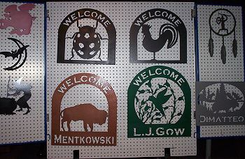 Metal art, Welcome signs, Silhouettes, Letters, Ornaments, Garden, Yard, and Christmas Decorations